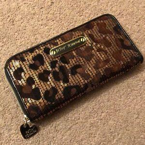 Betsey Johnson sequin cheetah print wallet